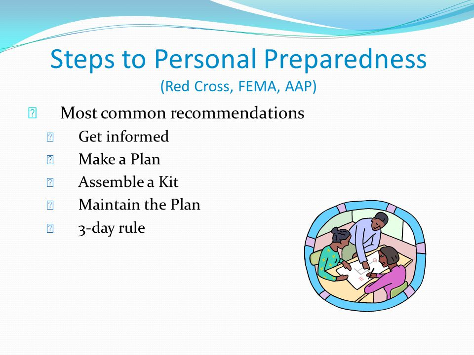 Steps to Personal Preparedness (Red Cross, FEMA, AAP)