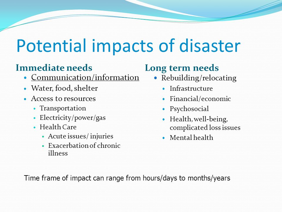 Potential impacts of disaster