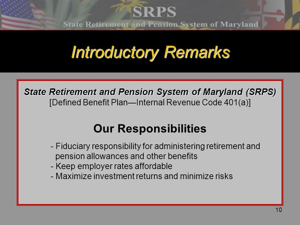 State Retirement and Pension System of Maryland (SRPS)