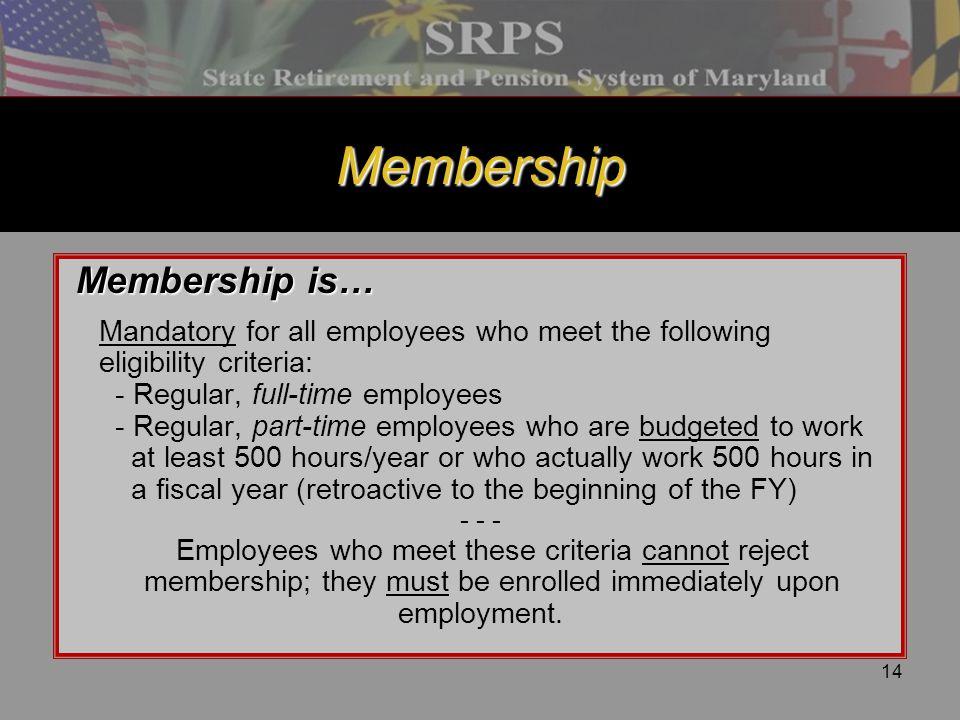 Membership Membership is…