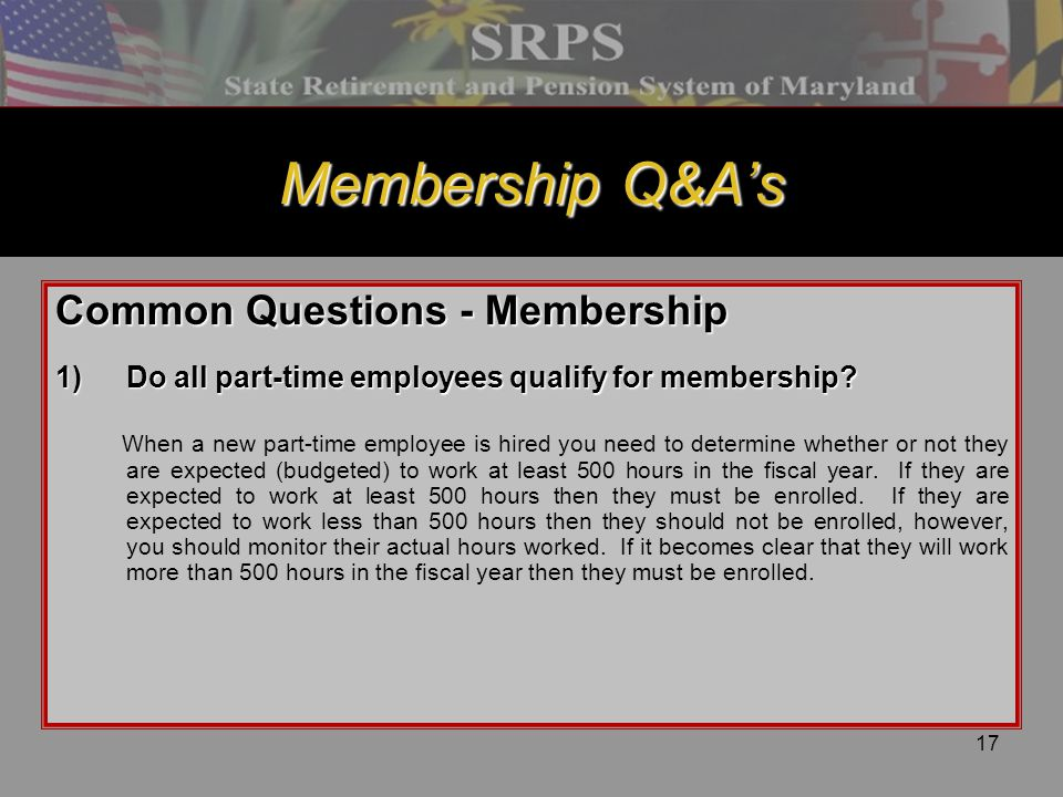 Membership Q&A's Common Questions - Membership
