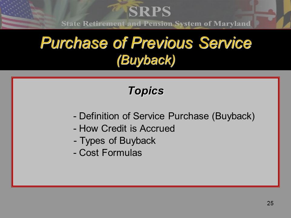 Purchase of Previous Service (Buyback)