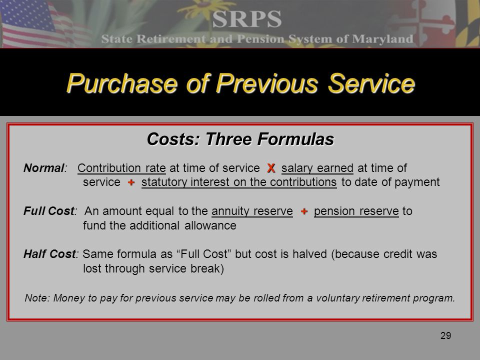 Purchase of Previous Service