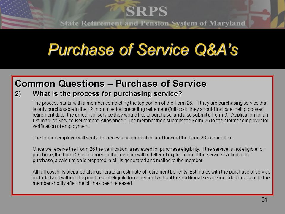 Purchase of Service Q&A's