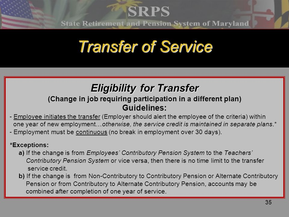 Transfer of Service Eligibility for Transfer Guidelines: