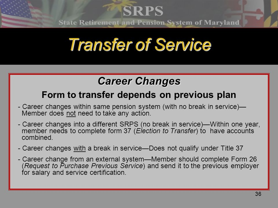 Form to transfer depends on previous plan