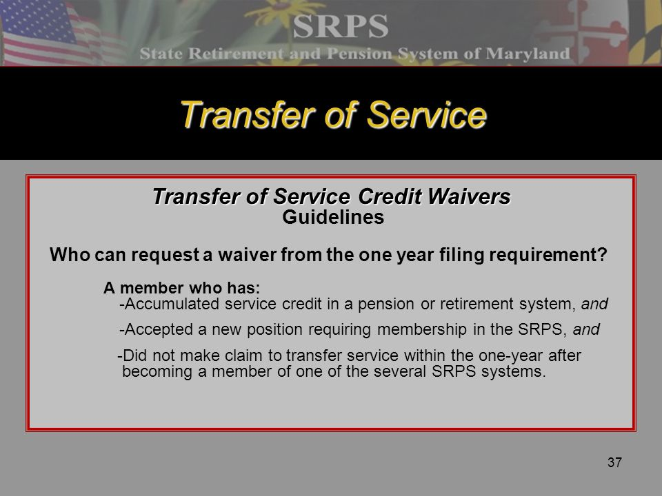 Transfer of Service Credit Waivers