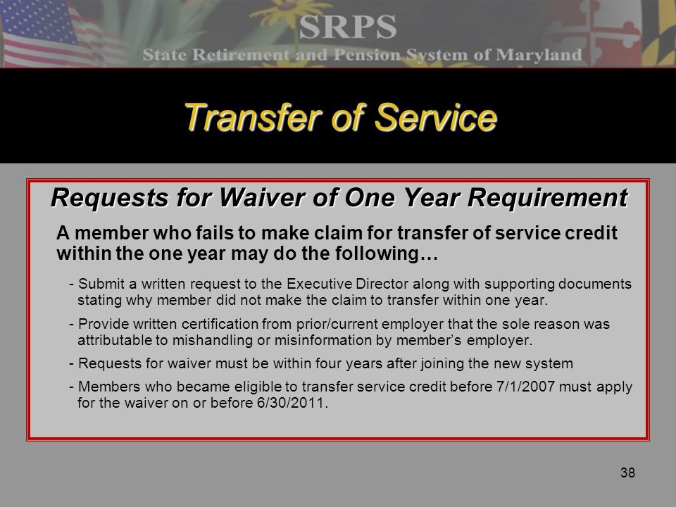 Requests for Waiver of One Year Requirement