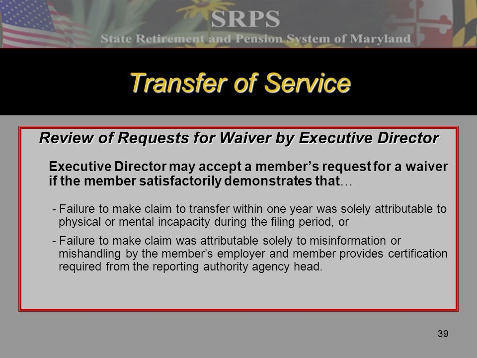 Review of Requests for Waiver by Executive Director