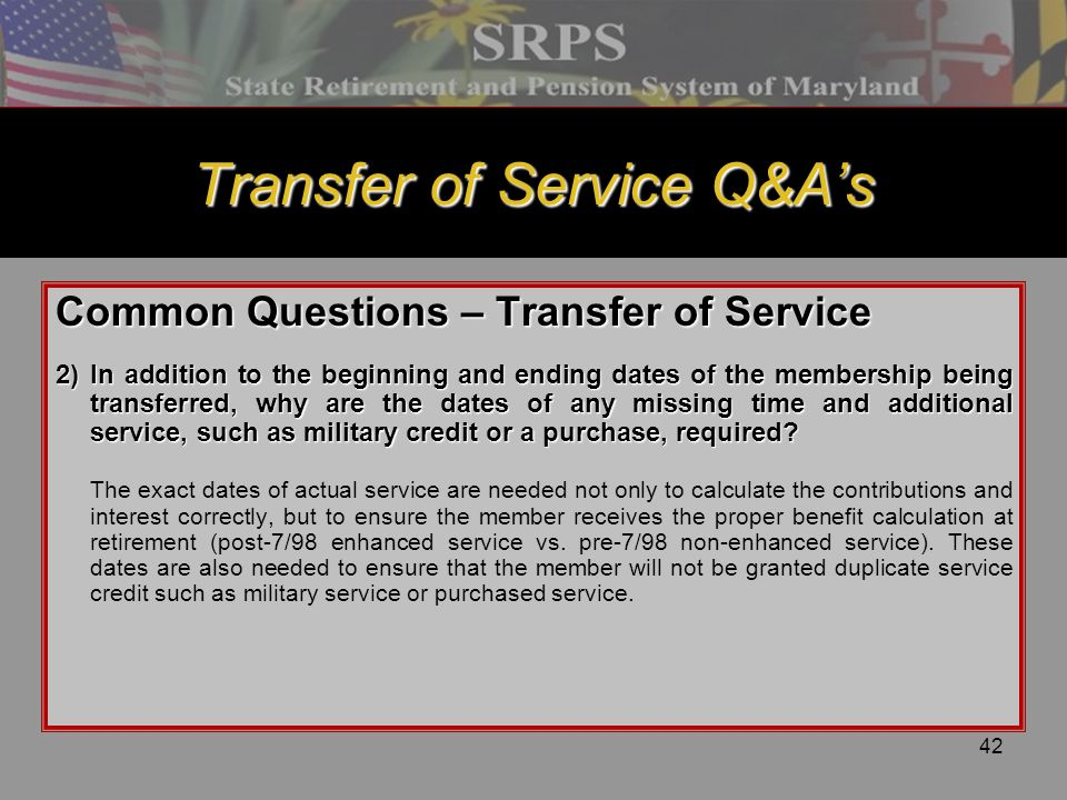 Transfer of Service Q&A's