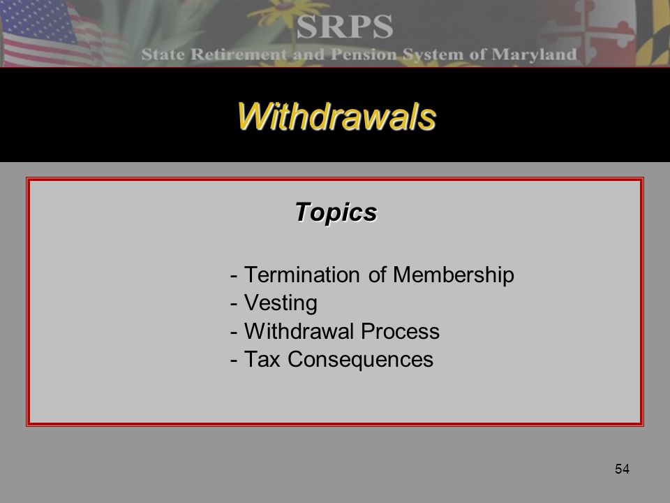 Withdrawals Topics - Termination of Membership - Vesting