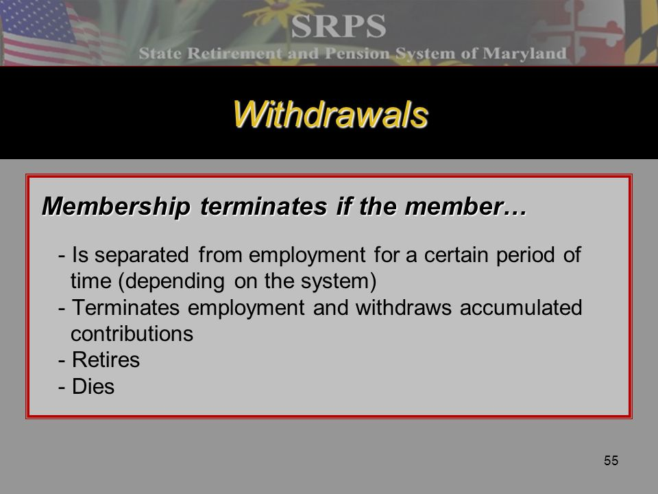 Withdrawals Membership terminates if the member…