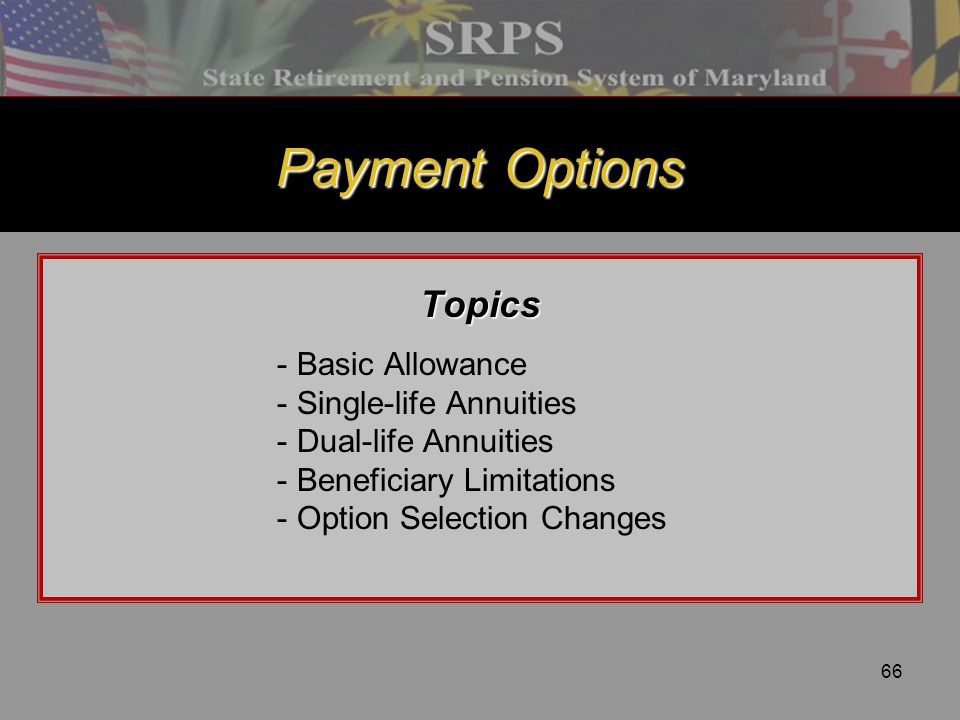 Payment Options Topics - Basic Allowance - Single-life Annuities