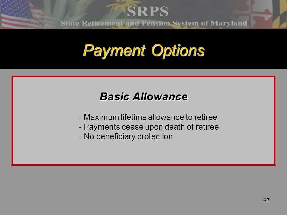Payment Options Basic Allowance