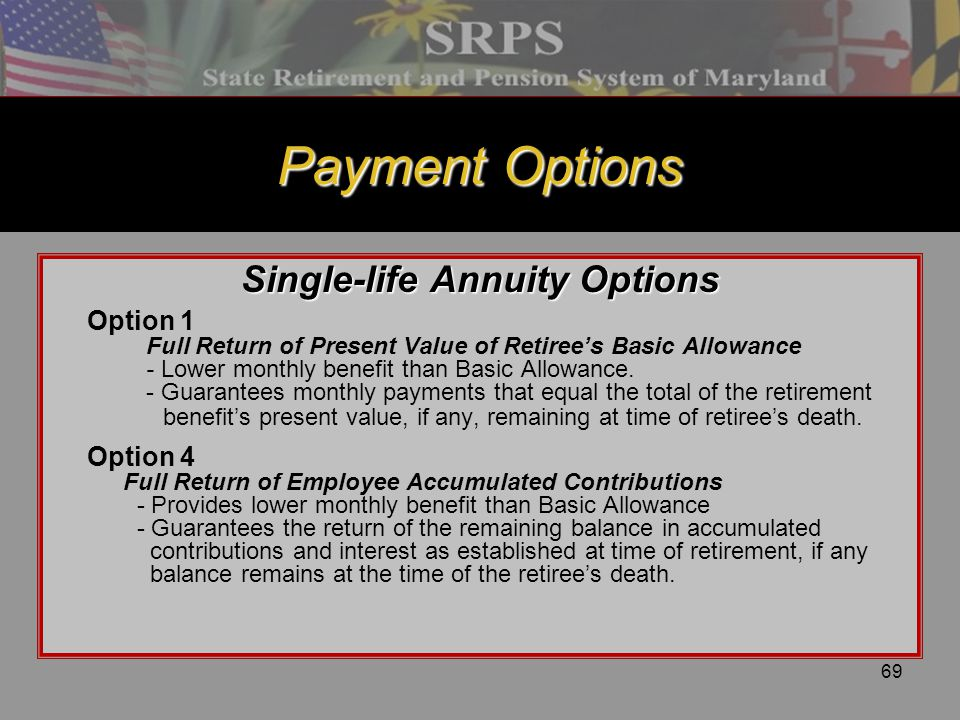 Single-life Annuity Options