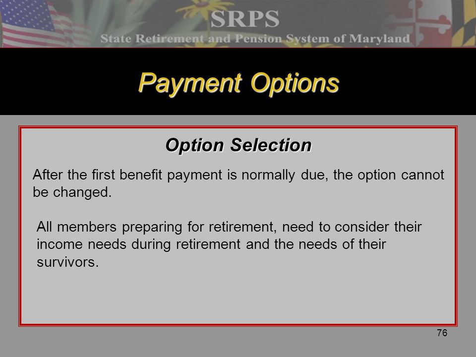 Payment Options Option Selection