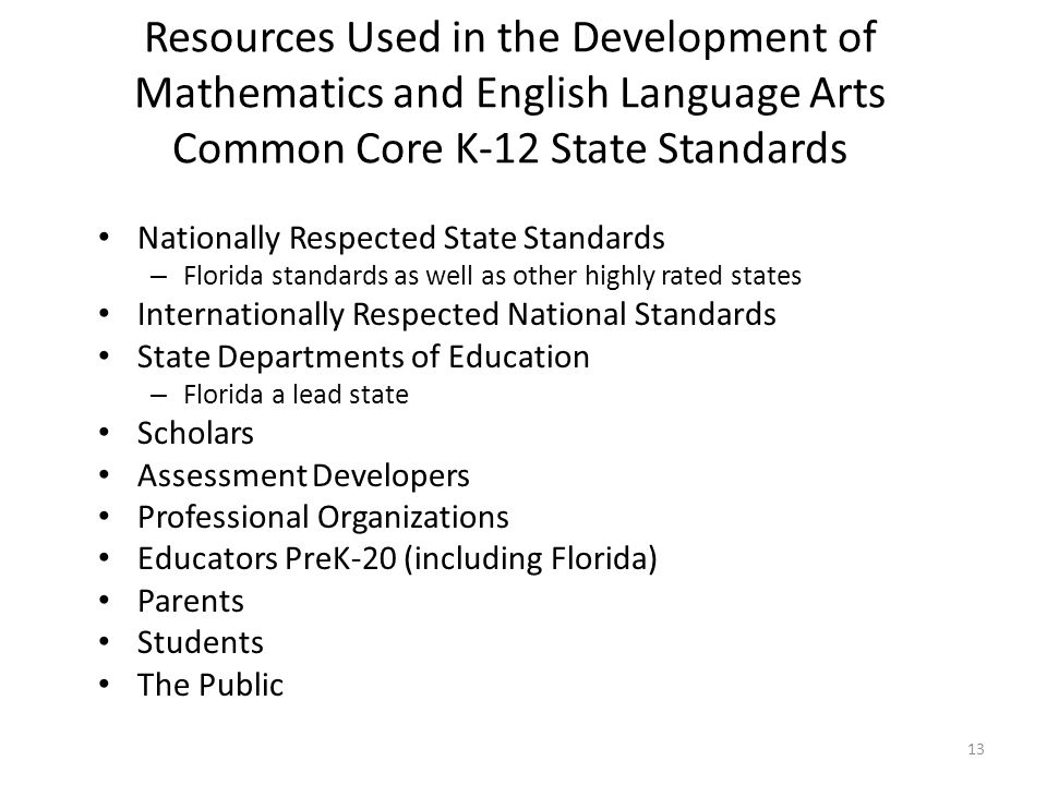 Resources Used in the Development of Mathematics and English Language Arts Common Core K-12 State Standards