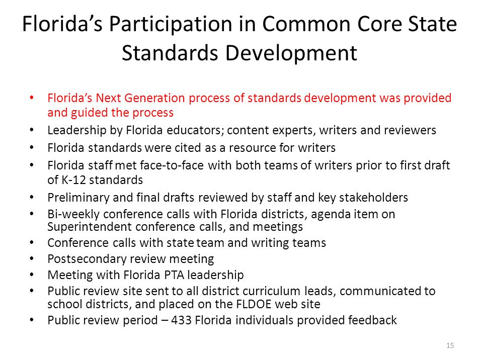 Florida's Participation in Common Core State Standards Development