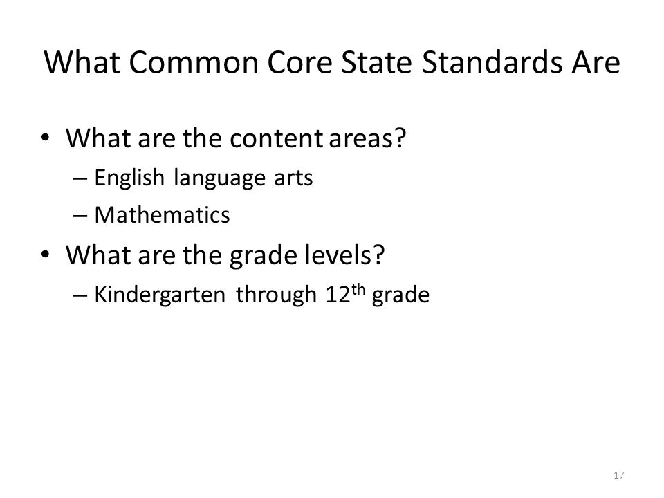 What Common Core State Standards Are