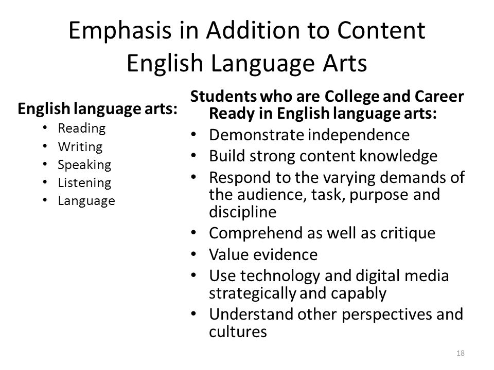 Emphasis in Addition to Content English Language Arts