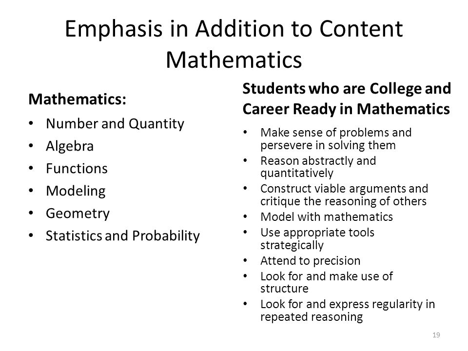 Emphasis in Addition to Content Mathematics