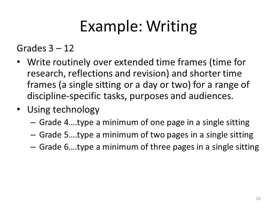 Example: Writing Grades 3 – 12