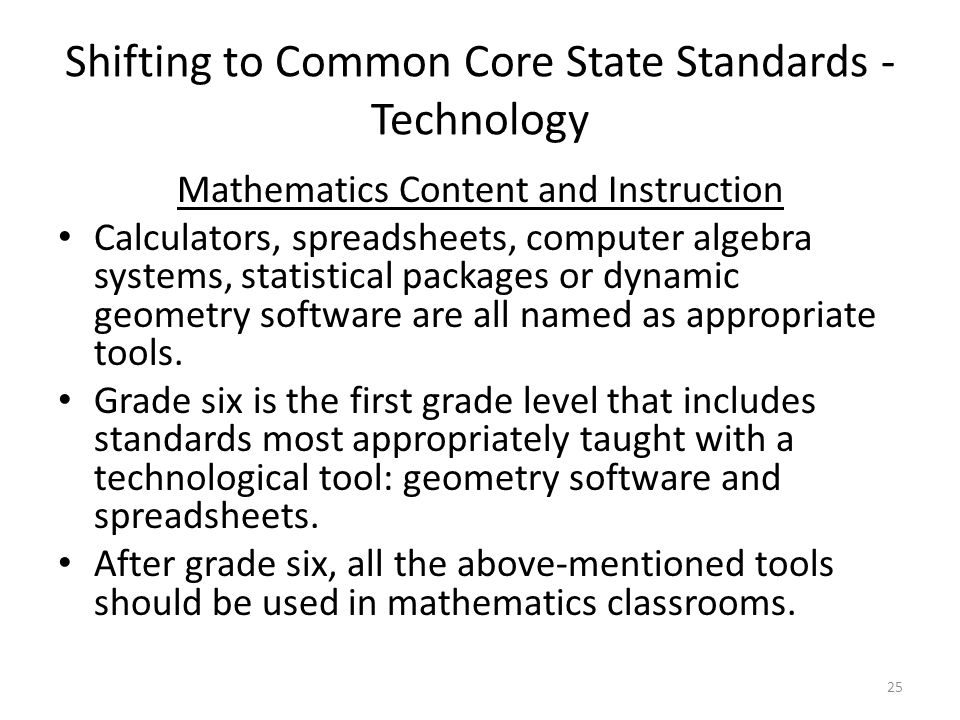 Shifting to Common Core State Standards - Technology