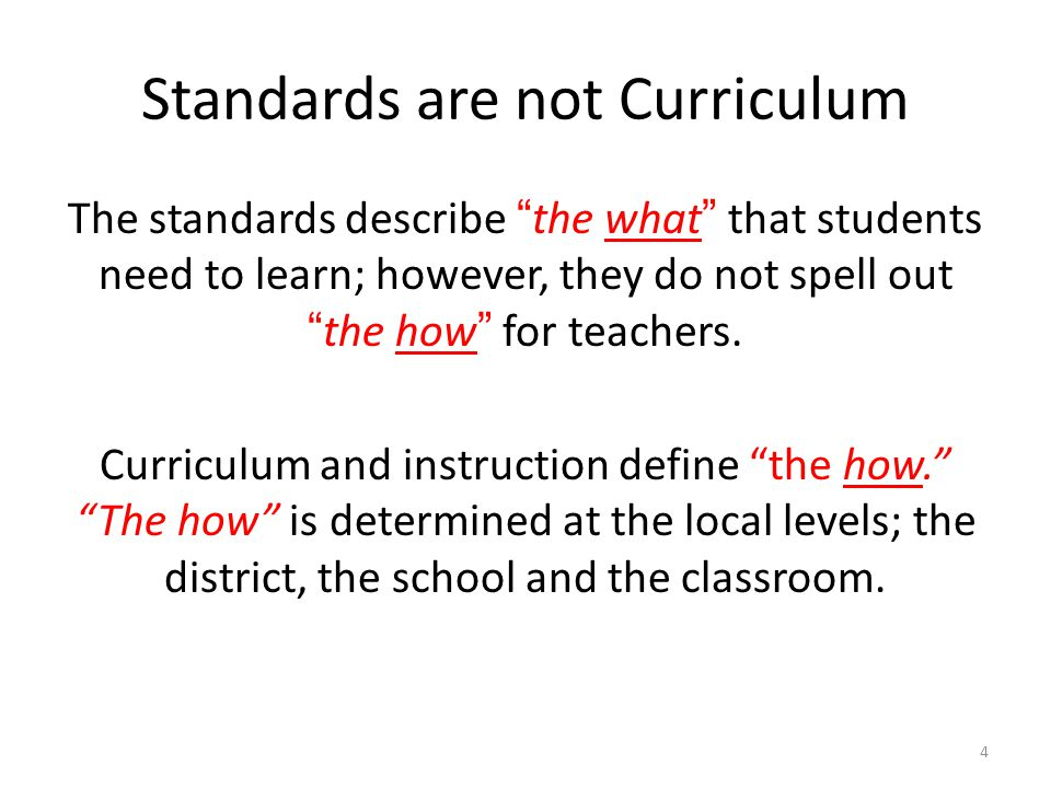 Standards are not Curriculum