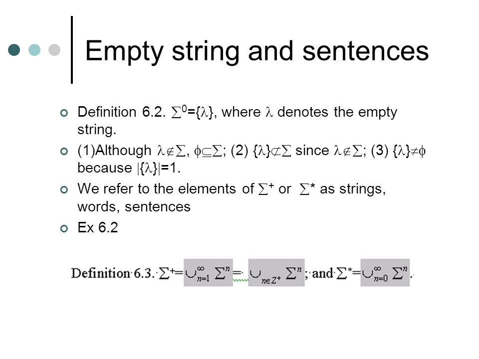 Empty string and sentences