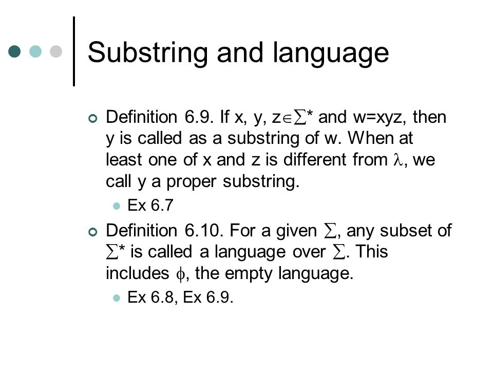 Substring and language