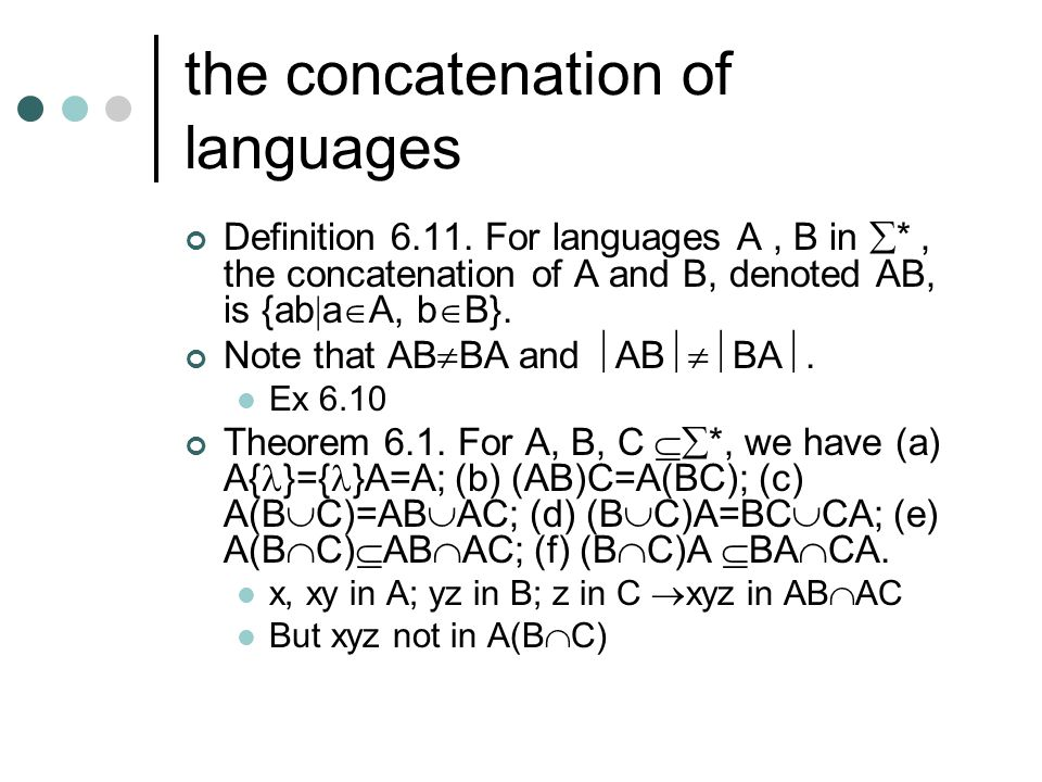 the concatenation of languages