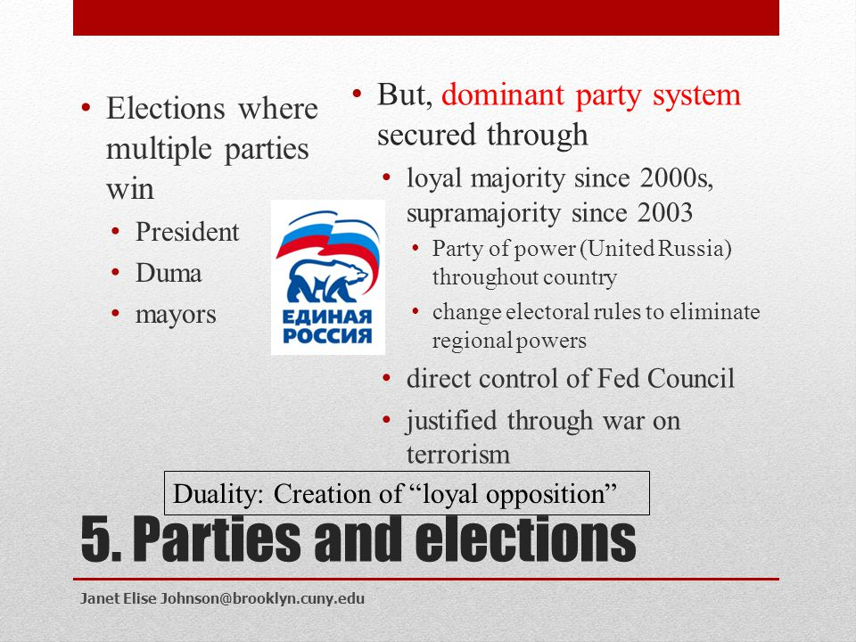 5. Parties and elections But, dominant party system secured through