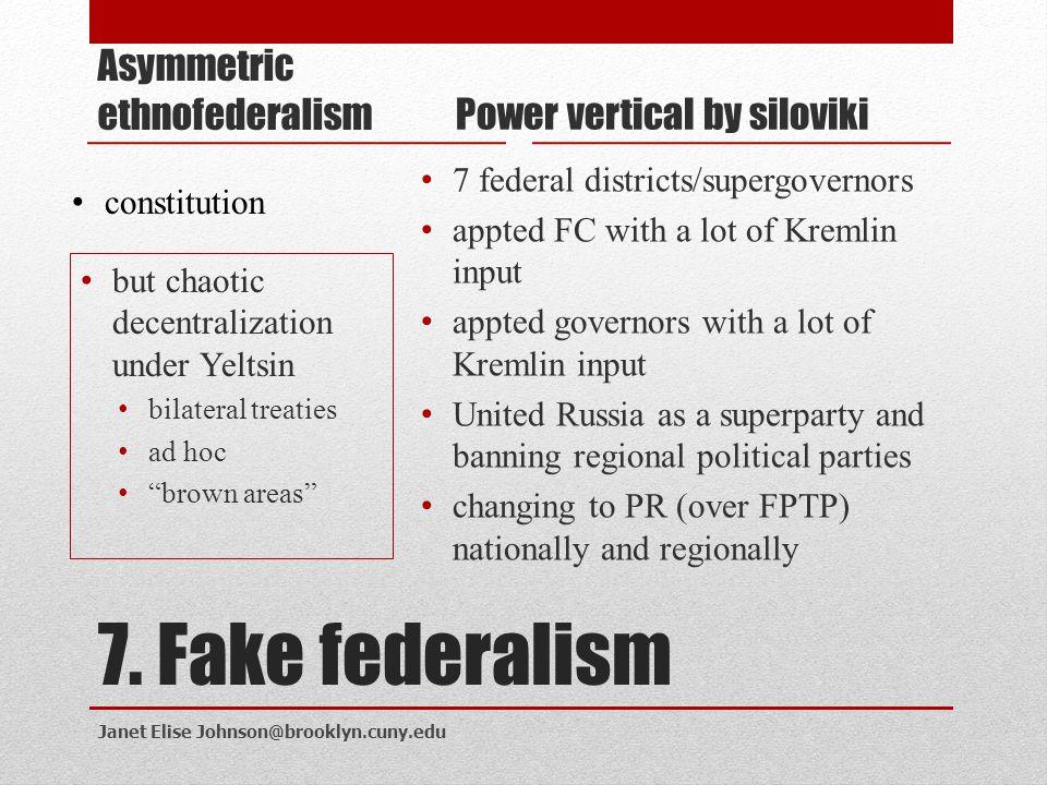 7. Fake federalism Asymmetric ethnofederalism