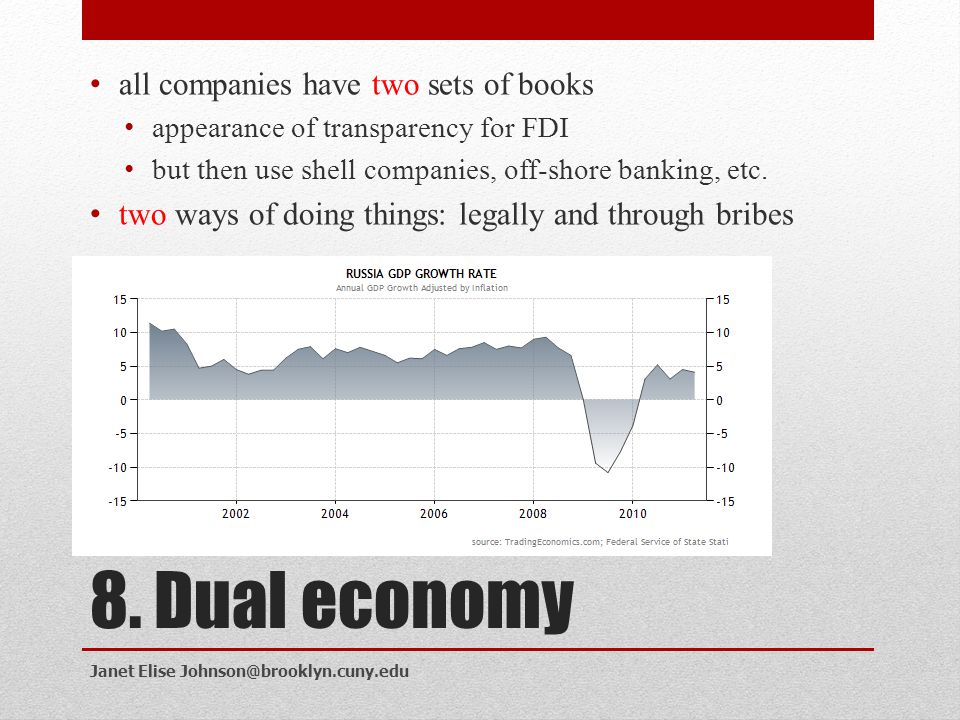 8. Dual economy all companies have two sets of books