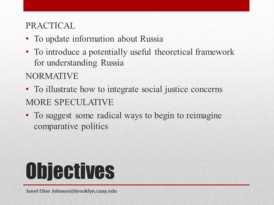 Objectives PRACTICAL To update information about Russia