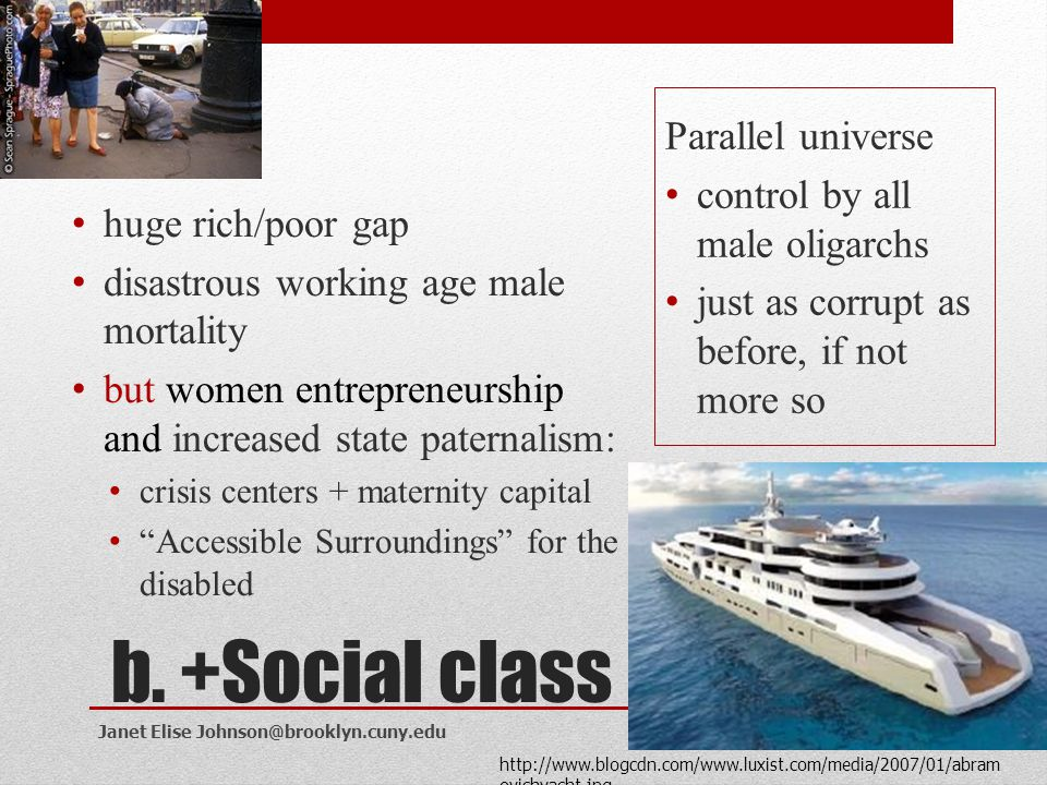 b. +Social class Parallel universe control by all male oligarchs
