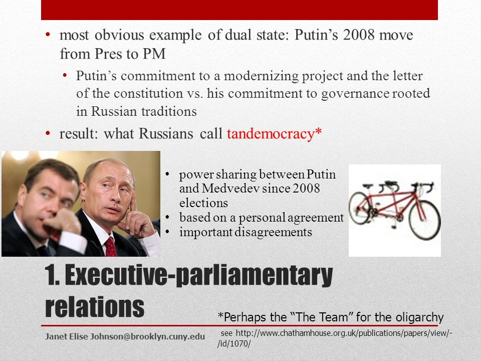 1. Executive-parliamentary relations
