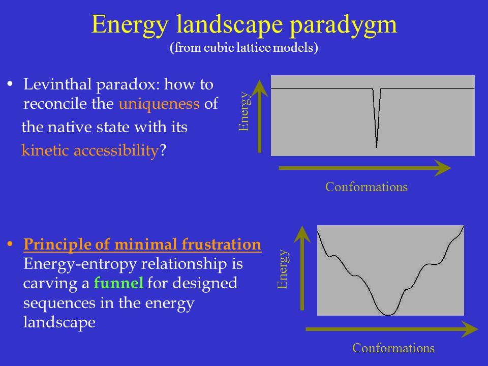 Energy landscape paradygm (from cubic lattice models)