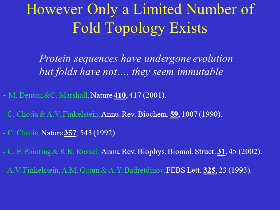 However Only a Limited Number of Fold Topology Exists