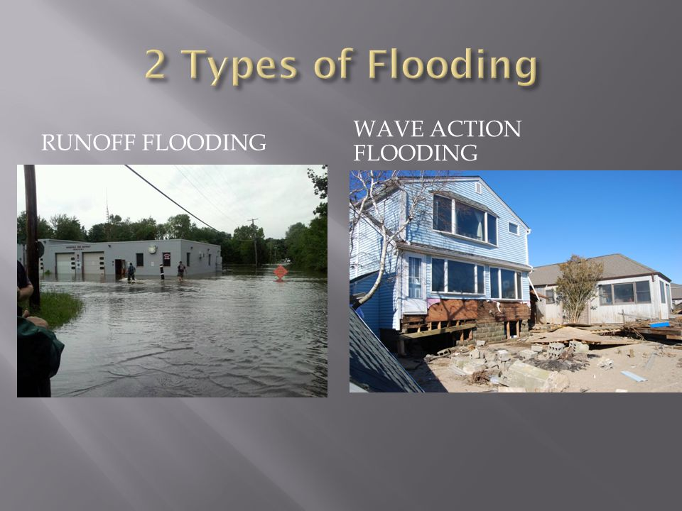 2 Types of Flooding Runoff Flooding Wave Action Flooding