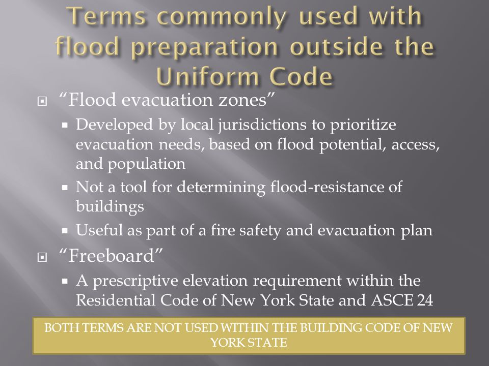 Terms commonly used with flood preparation outside the Uniform Code