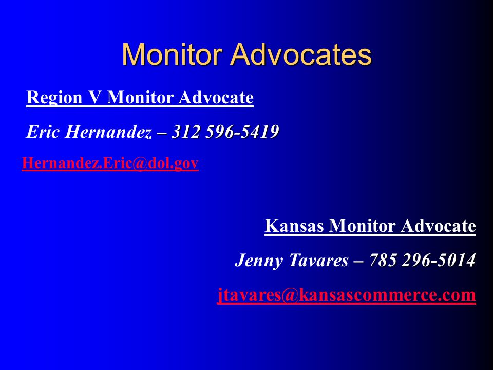 Monitor Advocates Region V Monitor Advocate