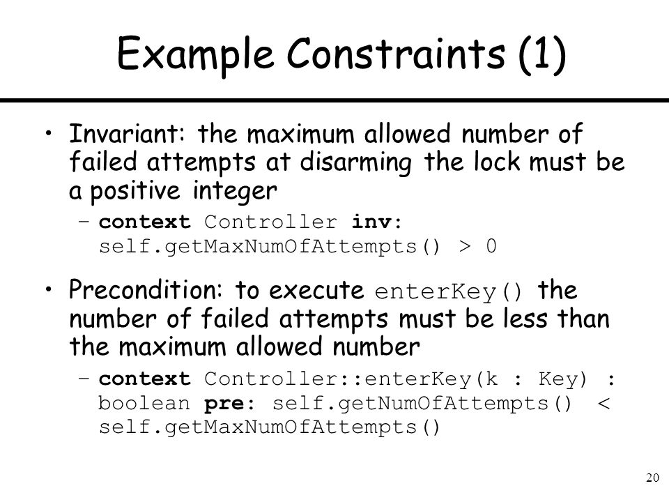 Example Constraints (1)