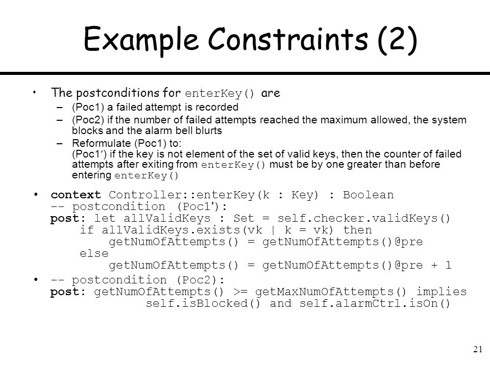 Example Constraints (2)