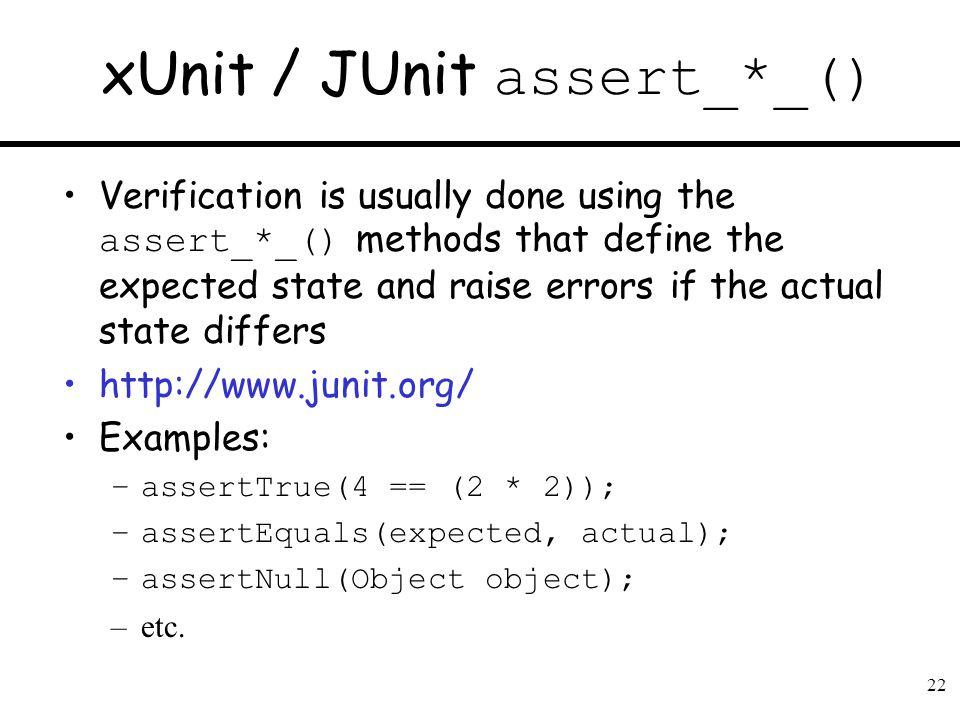 xUnit / JUnit assert_*_()