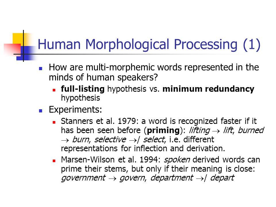 Human Morphological Processing (1)