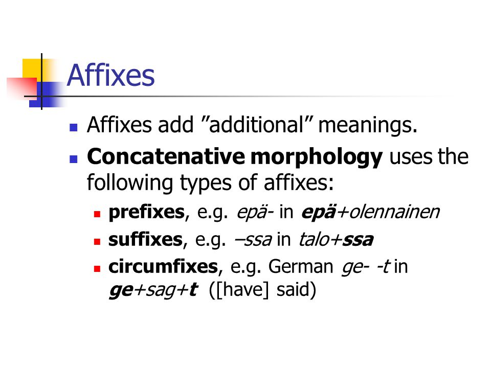Affixes Affixes add additional meanings.
