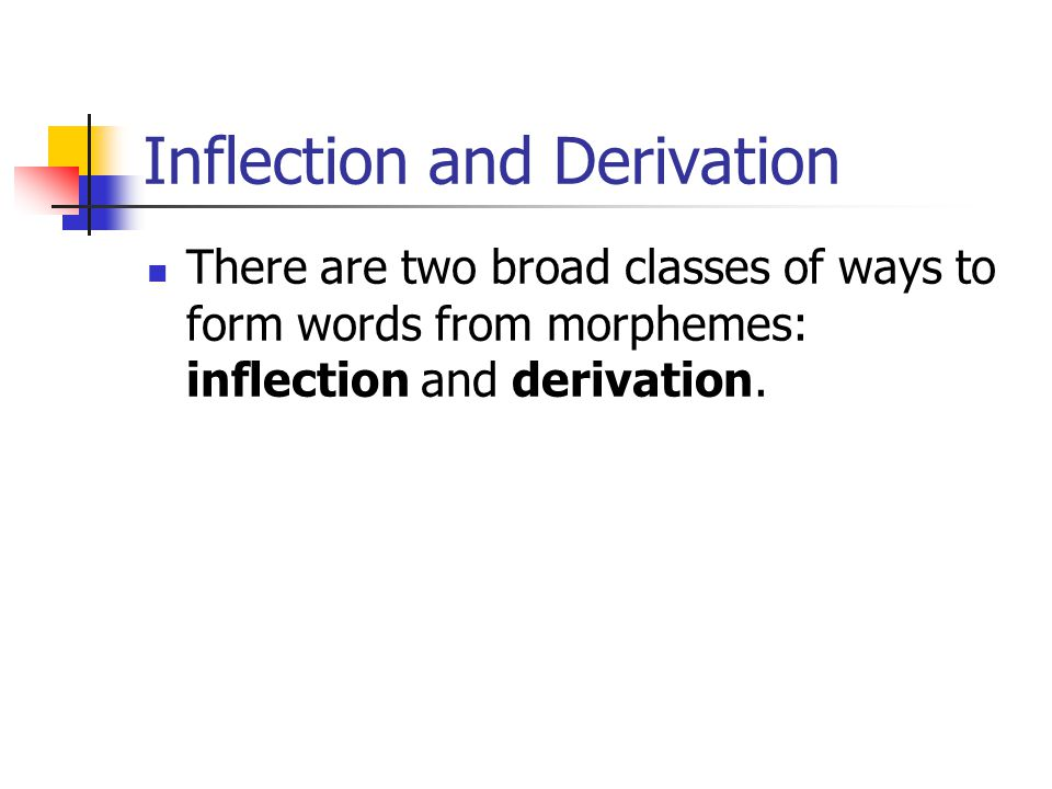 Inflection and Derivation