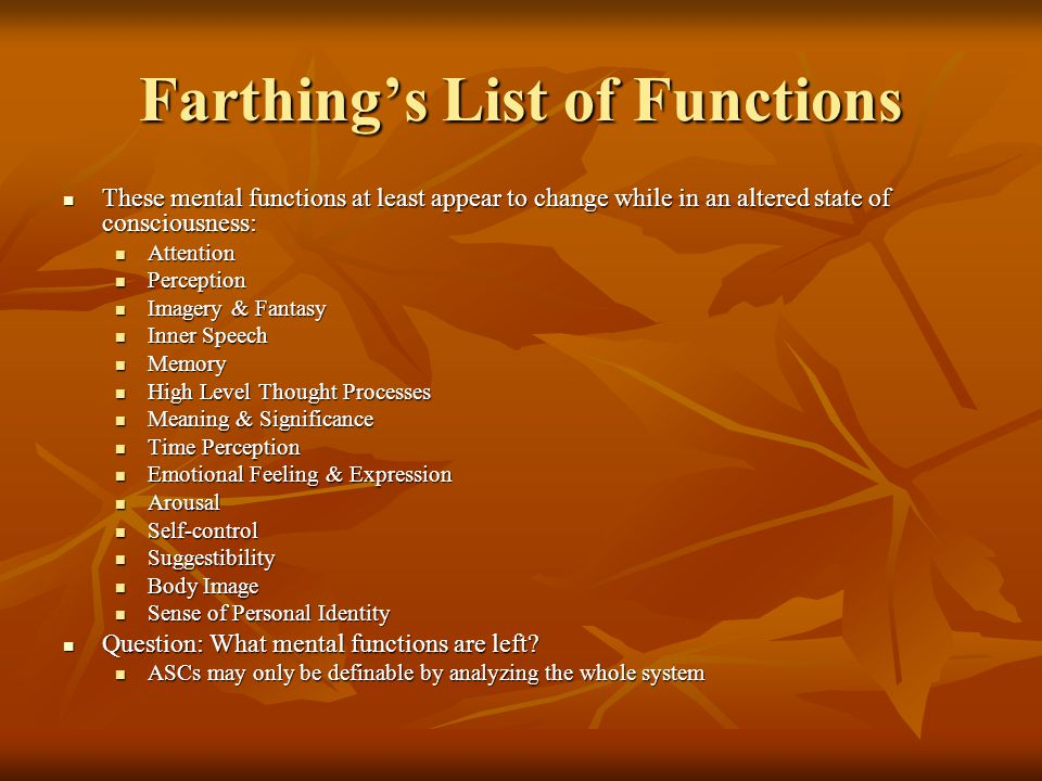 Farthing's List of Functions