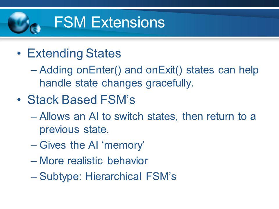 FSM Extensions Extending States Stack Based FSM's